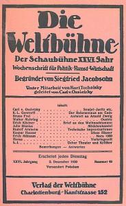 Titelblatt der Weltbühne, Ausgabe 49/1930